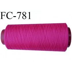 CONE de 1000 mètres  de fil polyester fil n° 60 couleur fuchsia longueur 1000 mètres  bobiné en France