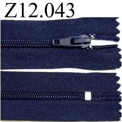 fermeture éclair longueur 12 cm couleur  bleu foncé non séparable zip nylon largeur 2.3 cm