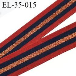 élastique 35 mm spécial lingerie, sport  caleçon ou bord côte fabriqué en France rouille bleu marine lurex cuivre prix au mètre