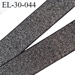 élastique 30 mm spécial lingerie, sport  caleçon ou bord côte fabriqué en France couleur noir et argent brillant prix au mètre