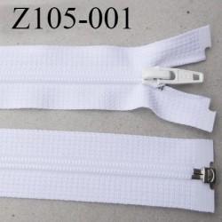 fermeture YKK zip 105 cm séparable largeur 30 mm  largeur de la  glissière nylon 6 mm couleur blanc YKK longueur 105 cm