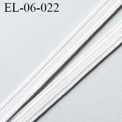 élastique plat 6 mm  couleur blanc souple largeur 6 mm prix au mètre
