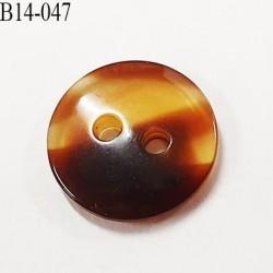 bouton 14 mm couleur marron foncé et corne marbré brillant 2 trous diamètre 14 millimètres