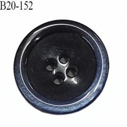 bouton 20 mm  pvc très haut de gamme couleur noir et couleur bleu nacré en bordure 4 trous diamètre 20 millimètres