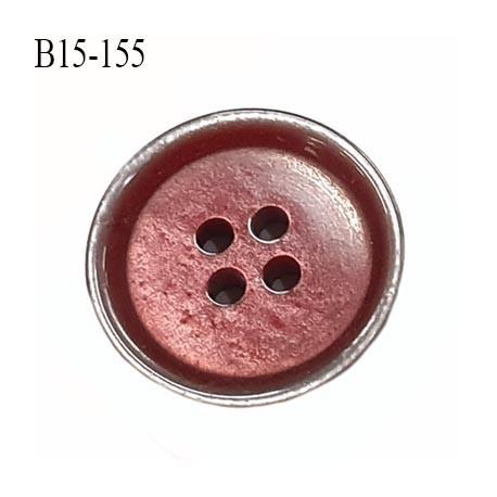 bouton 15 mm  pvc très haut de gamme couleur cuivre rouge et couleur gris acier en bordure 4 trous diamètre 15 millimètres