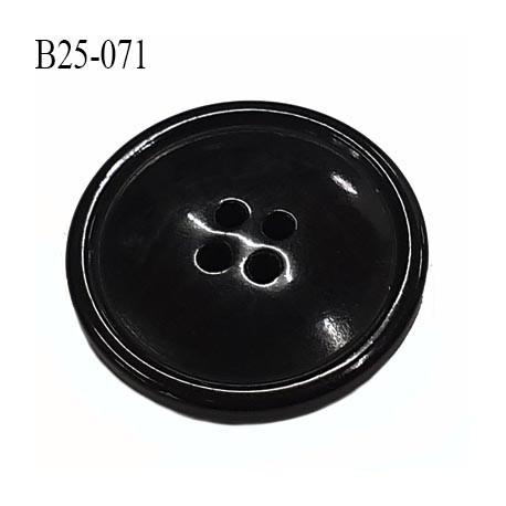 bouton 25 mm  pvc très haut de gamme couleur noir brillant 4 trous diamètre 25 millimètres