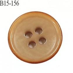 bouton 15 mm  pvc très haut de gamme couleur beige et couleur caramel en bordure 4 trous diamètre 15 millimètres