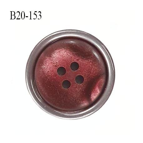 bouton 20 mm  pvc très haut de gamme couleur groseille et couleur acier en bordure 4 trous diamètre 20 millimètres