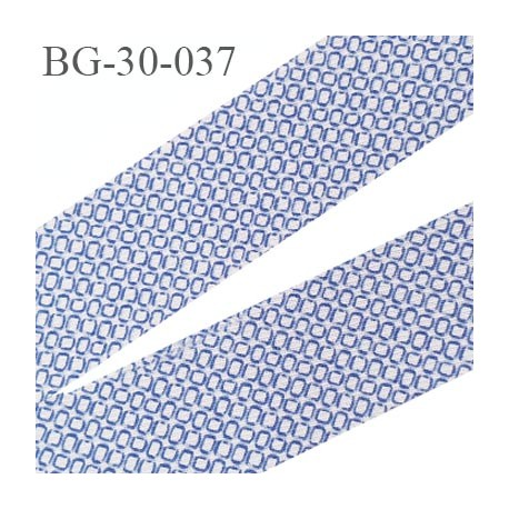 biais à plier 30 mm galon couleur bleu  blanc à motifs très doux agréable au touché largeur 30 mm prix au mètre
