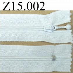 fermeture éclair longueur 15 cm couleur blanc non séparable zip nylon