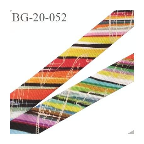 biais galon 20 mm pré plié  au dos 2 rabats de 10 mm couleur multicolor largeur 20 mm prix au mètre