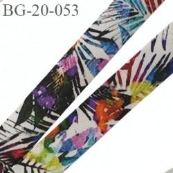 biais galon 20 mm pré plié  au dos 2 rabats de 10 mm couleur multicolor à fleur largeur 20 mm prix au mètre