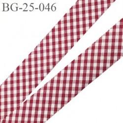 biais à plier 24 mm galon couleur vichy bordeaux et blanc synthétique aspect  coton largeur 24 mm prix au mètre