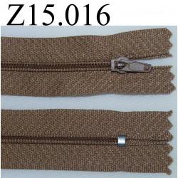 fermeture éclair longueur 15 cm  couleur marron non séparable zip nylon