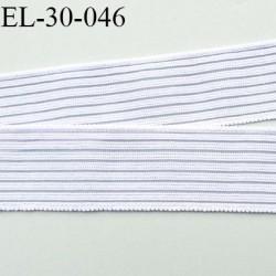 élastique plat fronceur ou à froncer ou à smock largeur 30 mm couleur blanc Fabriqué en France prix au mètre