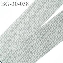 biais à plier 30 mm galon synthétique couleur gris  blanc à motifs très doux agréable au touché largeur 30 mm prix au mètre
