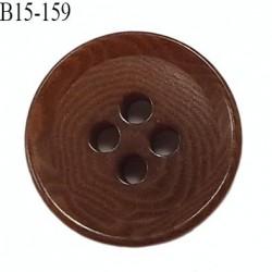 bouton 15 mm  pvc très haut de gamme couleur marron 4 trous diamètre 15 millimètres