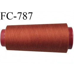 Cone de 2000 m fil polyester n° 120 couleur rouille  longueur de 2000 mètres bobiné en France