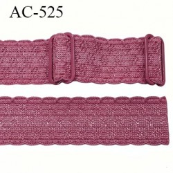 Bretelle 25 mm lingerie SG couleur rose de ballerine avec motifs haut de gamme  finition 2 barettes  prix a la pièce