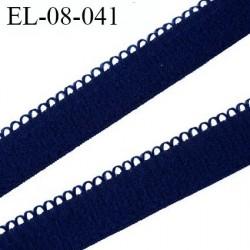 élastique lingerie picot 8 mm couleur  bleu  marine aspect velours fabriqué en France largeur 8 mm + 2 mm picot  prix au mètre