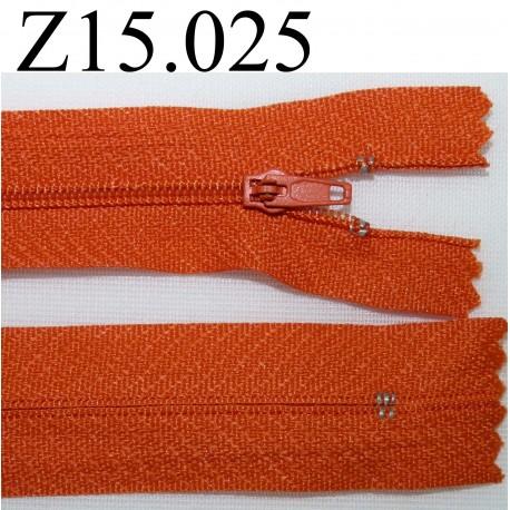 fermeture éclair longueur 15 cm  couleur orange clair non séparable zip nylon