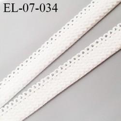 élastique lingerie picot 7 mm + 2 mm picot couleur écrue grande marque fabriqué en France largeur 7 mm + 2  prix au mètre