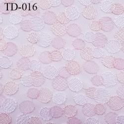 dentelle brodé  sur tulle couleur rose et saumon  très haut de gamme largeur 140 cm  prix pour 10 centimètres