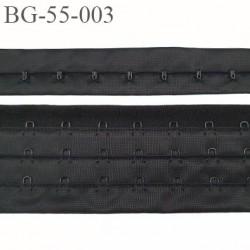 Bande Agrafe de 55 mm de hauteur et 3 rangés pour soutien gorge couleur noir fabriqué en France prix au mètre