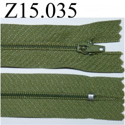 fermeture éclair longueur 15 cm  couleur  vert non séparable zip nylon