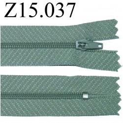 fermeture éclair longueur 15 cm  couleur gris vert non séparable zip nylon