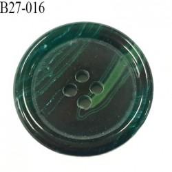 Bouton 27 mm  pvc vert marbré veiné brillant bombé épaisseur 5 mm diamètre 27 mm 4 trous très beau