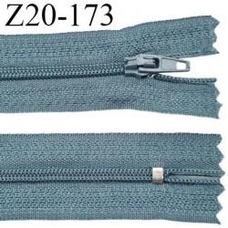 fermeture zip longueur 20 cm couleur bleu non séparable largeur 2.4 cm glissière nylon largeur  4 mm