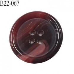 Bouton 22 mm  pvc bordeaux lie de vin et rose marbré veiné brillant bombé épaisseur 4 mm diamètre 22 mm 4 trous très beau