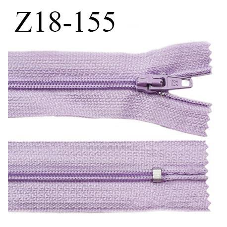 fermeture zip longueur 18 cm couleur lilas non séparable largeur 2.4 cm glissière nylon largeur  4 mm