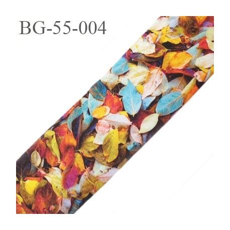 galon ruban 55 mm ganse rehausse ceinture couleur multi couleur feuilles haut de gamme prix au mètre