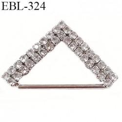 Boucle de réglage 25 mm réglette en métal et pvc chromé  par  passage intérieur 2.5 cm avec strass façon diamant