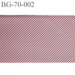 galon ruban 70 mm ganse rehausse ceinture couleur bordeaux rouge blanc à rayures épis haut de gamme prix au mètre