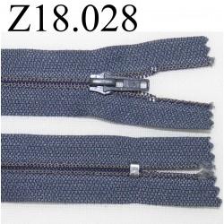 fermeture éclair longueur 18 cm couleur gris bleuté non séparable zip nylon largeur 2.5 cm