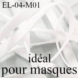 Elastique 4 mm spécial MASQUE polyamide élasthanne couleur BLANC fabriqué en France largeur 4  mm prix au mètre