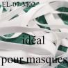 Elastique 7 mm idéal pour MASQUES lavable 60°polyamide élasthanne couleur BLANC prix au mètre