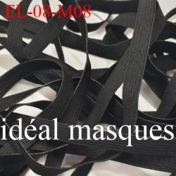 Elastique 8 mm idéal pour MASQUES lavable 60°polyamide élasthanne couleur NOIR   prix au mètre