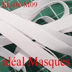 Elastique 8 mm idéal pour MASQUES lavable 60°polyamide élasthanne couleur blanc   prix au mètre