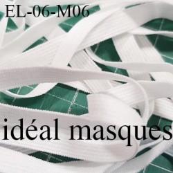 Elastique 6 mm spécial MASQUES Eco Tex lavable 60° élasthanne couleur naturel prix au mètre tarifs spéciaux par quantité
