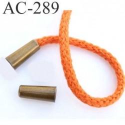 arrêt stop cordon avec embout bouchon  métal couleur laiton vieilli pour cordon de 5 mm  ou moins de diamètre prix à l'unité