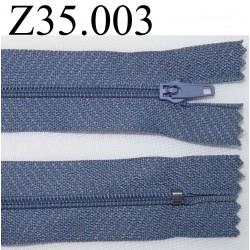 fermeture éclair longueur 35 cm couleur bleu gris non séparable zip nylon largeur 2.5 cm