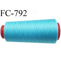 CONE 2000 m fil Polyester n° 120  bleu turquoise longueur 2000 mètres fil européen bobiné en France certifié oeko tex
