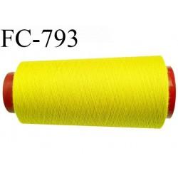 CONE 2000 m fil Polyester n° 120  jaune citron longueur 2000 mètres fil européen bobiné en France certifié oeko tex