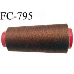 CONE 1000 m fil Polyester n° 120  marron clair longueur 1000 mètres fil européen bobiné en France certifié oeko tex