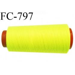CONE 2000 m fil Polyester n° 120  jaune fluo longueur 2000 mètres fil européen bobiné en France certifié oeko tex