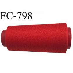 CONE 1000 m fil Polyester n° 120  rouge longueur 1000 mètres fil européen bobiné en France certifié oeko tex